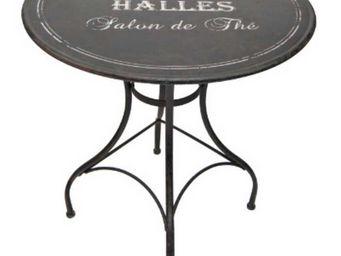 Antic Line Creations - table ronde bistro des halles en métal 72x76cm - Rundes Gartentisch