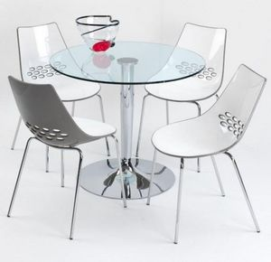 Calligaris - table repas ronde planet 90x90 en verre et piéteme - Runder Esstisch
