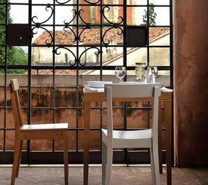 Calligaris - petite table repas la locanda 70x70 noyer de calli - Quadratischer Esstisch