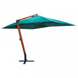 WHITE LABEL - parasol vert déporté 3x4m pied en bois - Ampelschirm