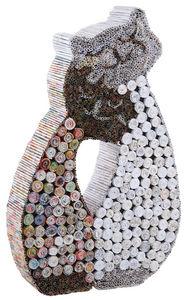 Aubry-Gaspard - chats en papier recyclé - Kleine Statue