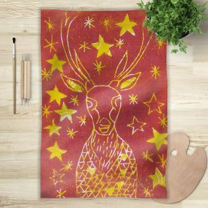 la Magie dans l'Image - foulard cerf etoilé rouge - Vierecktuch