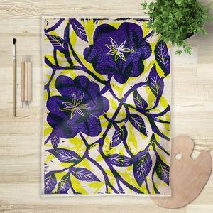 la Magie dans l'Image - foulard fleurs bleues - Vierecktuch