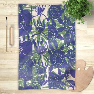 la Magie dans l'Image - foulard végétal bleu vert - Vierecktuch