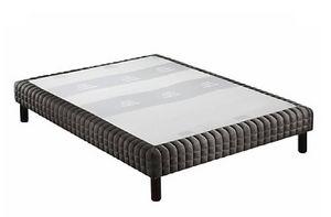 WHITE LABEL - sommier tapissier double epeda chiné gris graphite - Fester Federkernbettenrost