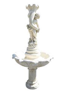 DECO GRANIT - fontaine avec enfant en pierre reconstituée - Wasserbrunnen