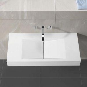 Rue du Bain - lavabo suspendu rectangulaire blanc mat, 100x48 cm - Waschbecken Hängend