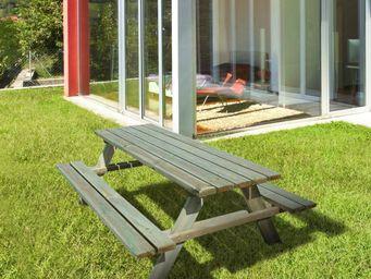 CEMONJARDIN - table de pique-nique bois 6/8 places fontainebleau - Picknick Tisch