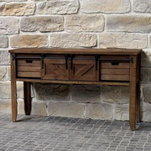 CHEMIN DE CAMPAGNE - meuble console table de drapier industriel bois fe - Wäschetisch