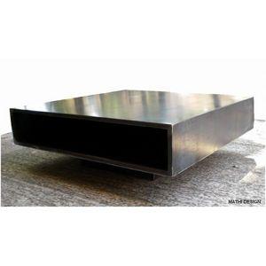 Mathi Design - table basse acier brut metallica - Couchtisch Quadratisch
