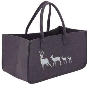 Aubry-Gaspard - sac à bûches en feutrine motifs cerfs - Kaminholzträger