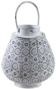 Aubry-Gaspard - lanterne en métal mosaique blanc vieilli - Gartenlaterne