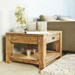 BOIS DESSUS BOIS DESSOUS - table basse en bois de teck recyclé 60 cargo - Couchtisch Quadratisch