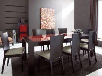 Miliboo - table brandon plateau verre trempé rouge - Ausziehbarer Tisch