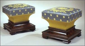 CARSWELL RUSH BERLIN - rare pair of mahogany ottomans in the restauration - Ottomane