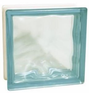 Glass Block Technology - blue flemish - Glasbaustein