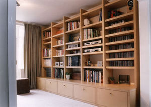Pietersen Furniture Makers - living room storage unit in plain lacquered mdf - Bibliothek