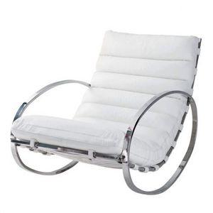 Maisons du monde - fauteuil à bascule cuir blanc freud - Schaukelstuhl