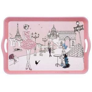 La Chaise Longue - plateau les parisiennes en résine rose 53x34x5cm - Tablett