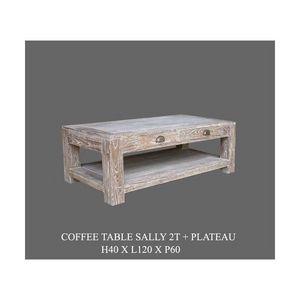 DECO PRIVE - table basse sally cerusee 120 x 100 - Rechteckiger Couchtisch
