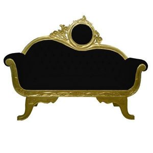 DECO PRIVE - sofa baroque 2 places dore et velours noir - Sofa 2 Sitzer