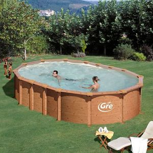 GRE - piscine ovale aspect bois amazonia 610 x 375 x 132 - Pool Mit Stahlohrkasten