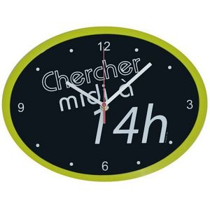 WHITE LABEL - horloge ovale cadre chercher midi à 14h - Pendelwanduhr