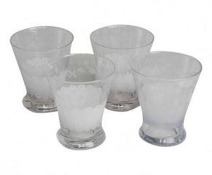 Demeure et Jardin - ensemble de 4 verres a eau gravés - Glas