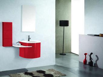 UsiRama.com - meuble salle de bain design rose laqué rouge - Waschtisch Möbel