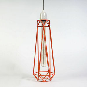 Filament Style - diamond 2 - suspension orange câble gris ø12cm | l - Deckenlampe Hängelampe