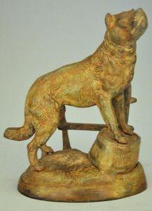 Demeure et Jardin - statue chien de garde en bronze - Tierskulptur