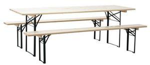 Aubry-Gaspard - ensemble brasserie table et bancs en métal et bois - Garten Esszimmer