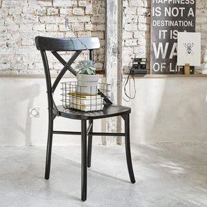 BOIS DESSUS BOIS DESSOUS - chaise bistrot en bois d'acajou londres noire - Stuhl