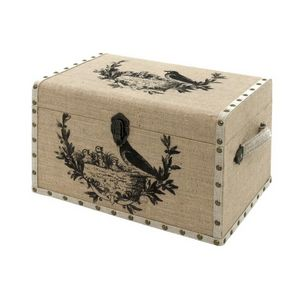 CHEMIN DE CAMPAGNE - coffre malle de rangement bois toile de jute oisea - Kofferschrank