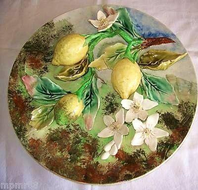 Art & Antiques - Deko-Teller-Art & Antiques-Grand plat aux citrons signé LONGCHAMP