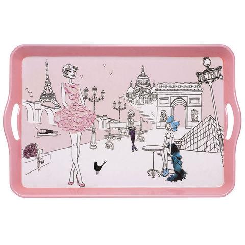 La Chaise Longue - Tablett-La Chaise Longue-Plateau les parisiennes en résine rose 53x34x5cm