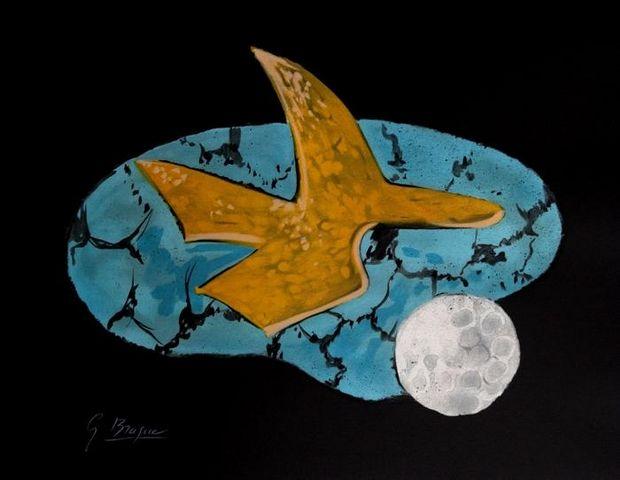 ARMAND ISRAËL - Lithographie-ARMAND ISRAËL-Oiseau céleste de Georges BRAQUE lithogr