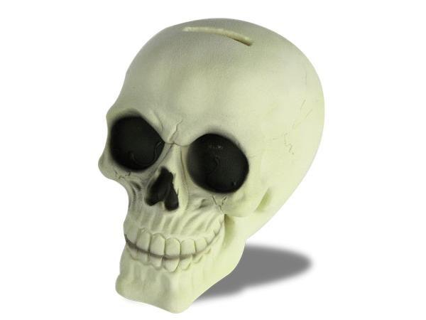WHITE LABEL - Spardose-WHITE LABEL-Tirelire en tête de mort brillant dans la nuit  ca