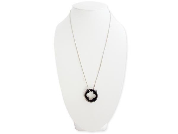 WHITE LABEL - Kette-WHITE LABEL-Collier 80 cm pendentif anneau noir et strass perf