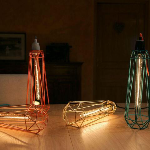 Filament Style - Deckenlampe Hängelampe-Filament Style-DIAMOND 2 - Suspension Orange câble Gris Ø12cm | L