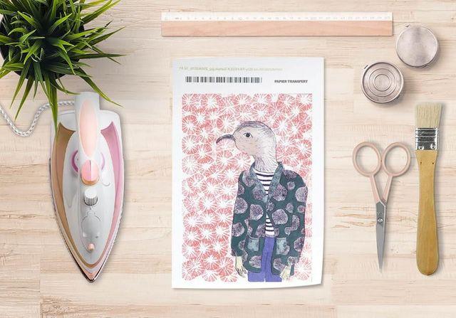 la Magie dans l'Image - Verlegung-la Magie dans l'Image-Papier transfert Mon Petit Oiseau Fond Rose