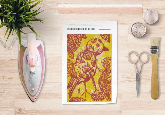 la Magie dans l'Image - Verlegung-la Magie dans l'Image-Papier transfert Oiseau Batik Jaune
