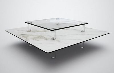 Marais International - Couchtisch quadratisch-Marais International-Céramique et verre