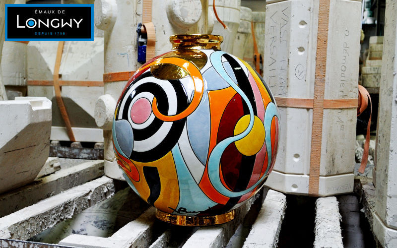 Emaux de Longwy 1798 Jarro decorativo Vasos Decorativos Objetos decorativos   