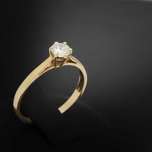 Expertissim - bague solitaire en or et diamant - Anillo