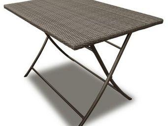 PROLOISIRS - table pliante cacao en résine tressée ice 110x70x7 - Mesa De Jardín