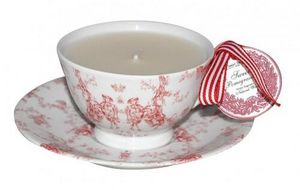 Demeure et Jardin - bougie dans une tasse toile de jouy rouge - Vela Decorativa