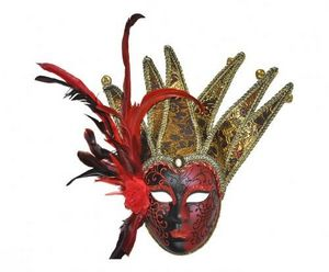 Demeure et Jardin - masque damas rouge avec plumes et grelots - Máscara