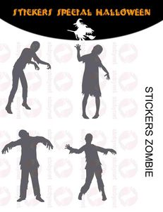 WHITE LABEL - sticker zombies halloween - Adhesivo