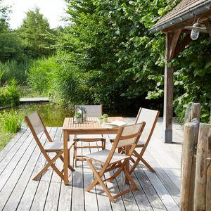 BOIS DESSUS BOIS DESSOUS - salon de jardin en bois d'acacia fsc 4 places - Comedor De Exterior